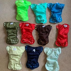 Lot of 10 AppleCheeks size 2 cloth diapers